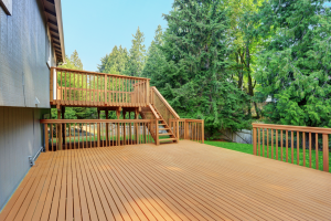 Wood deck installation at a house in the Chicagoland area